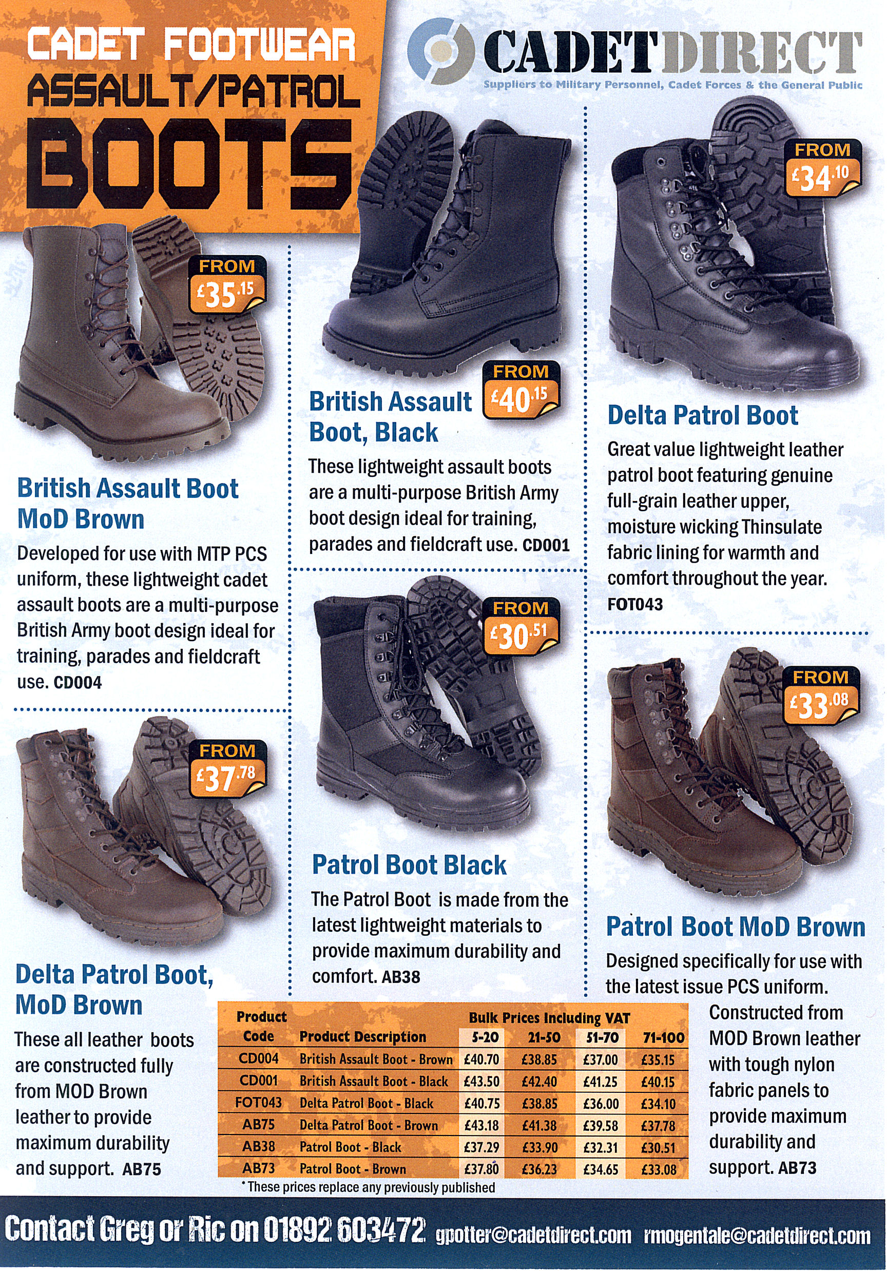 CCF Boot Prices 250815